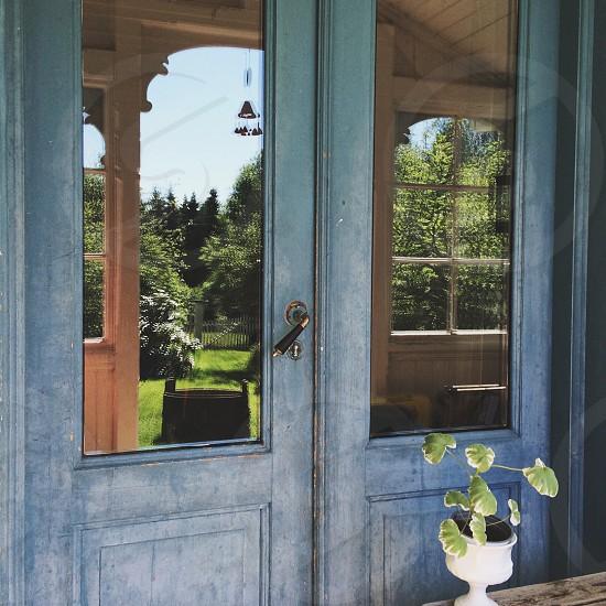 view of a blue wooden door photo