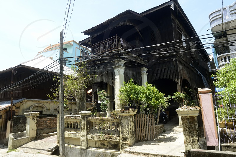 a teak woodhouse in the old city of Myeik in the south in Myanmar in Southeastasia. photo