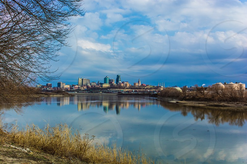 city skyline Kansas City outdoors landscape reflection river water Kansas River photo