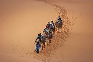 Sahara desert in the early morning, right at the sunset  by