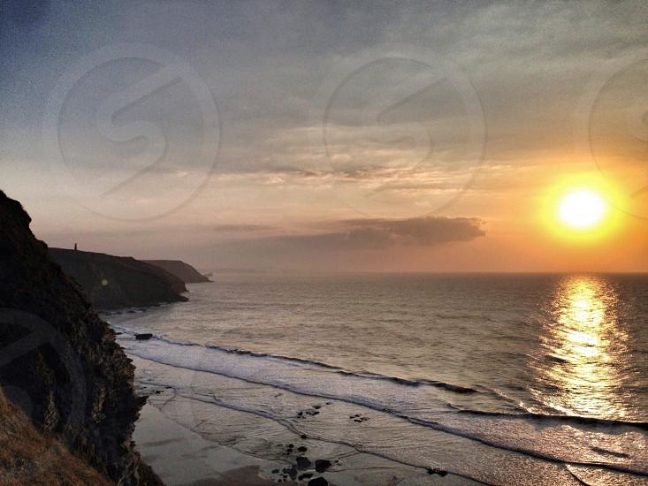 Cornish coast at dusk photo