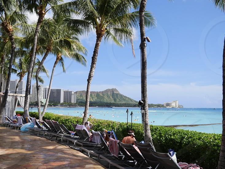 Waikiki beach hawaii truism tourists vacation USA  photo