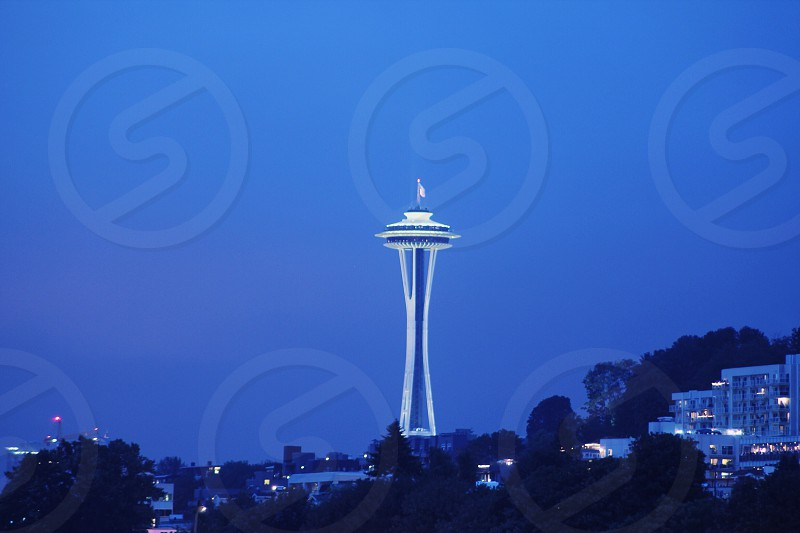 view of white space needle tower photo