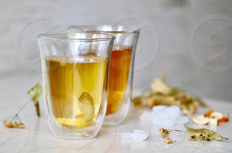Linden tea herbal healthy drink drink herb cup of tea ginger glass tea photo