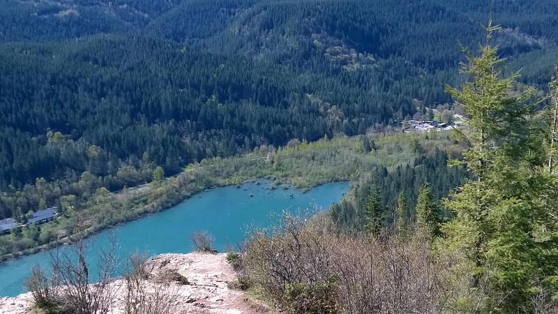 Woodland hike pine trees boulder nature lake water photo