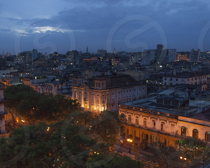 cityscape landscape cityscape Cuba Havana night skyline photo