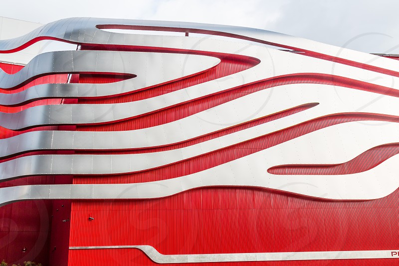 Exterior of the Petersen Automotive Museum in Los Angeles California.   photo