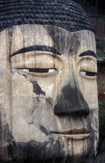 the big Buddha near the city of Leshan in the provinz Sichuan in China in eastasia. photo