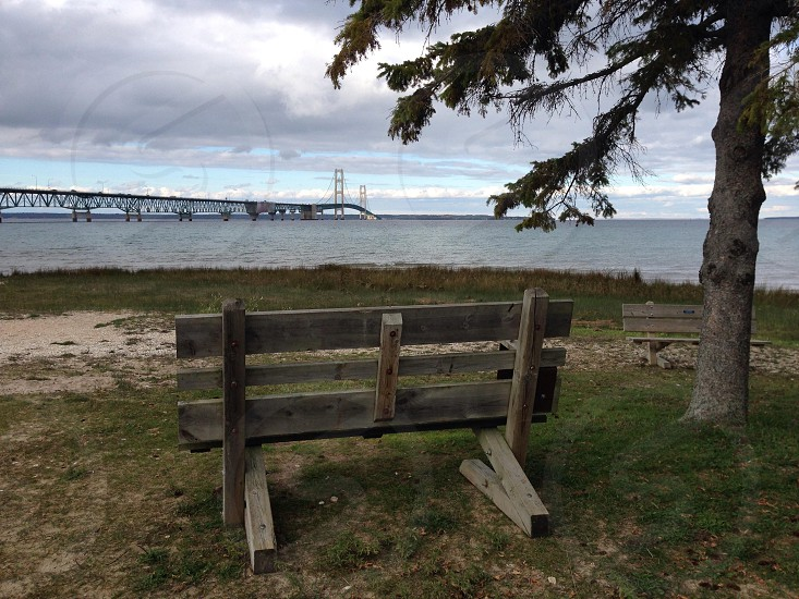 Bench Mackinac Bridge photo