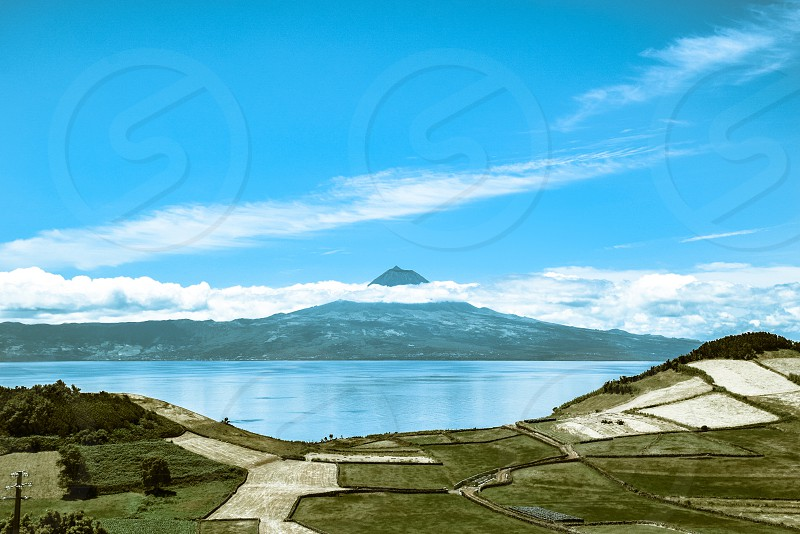 mountain lake and rice field photography photo