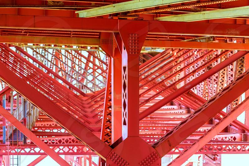 Golden Gate Bridge under details in San Francisco California USA photo