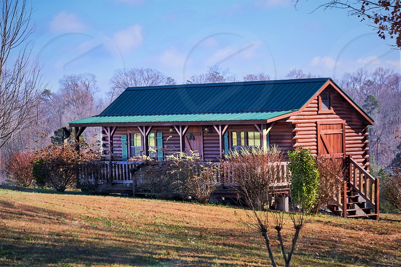 Rustic little log cabin in the Smokey Mountains.                            photo