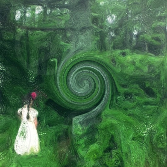 girl in white dress standing in green forest photo