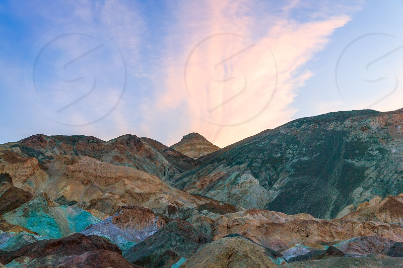View of Artist's Palette at sunrise. Death Valley National Park. California. USA photo