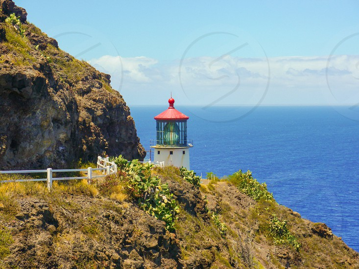 Hawaii lighthouse ocean sea sky mountain cactuses Makapuu photo