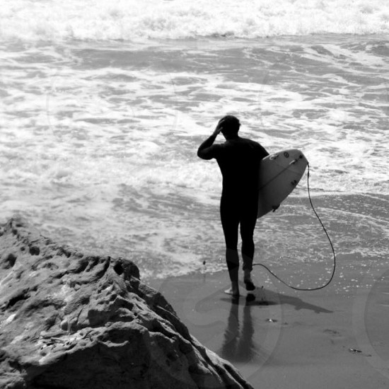 Outdoor day horizontal black and white sepia surf surfing California  photo