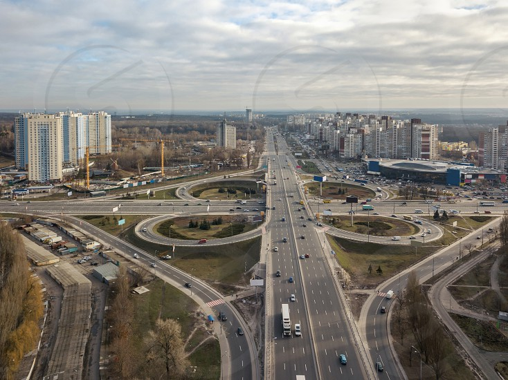 Kiev Ukraine.- January 112018: Aerial View on the city of Kiev and highway intersection. Ukraine photo taken from drones photo