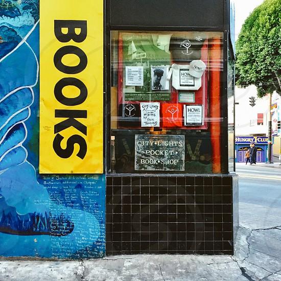 Bookstore window on urban street photo