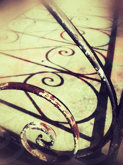 Iron spiral metal railing rust photo