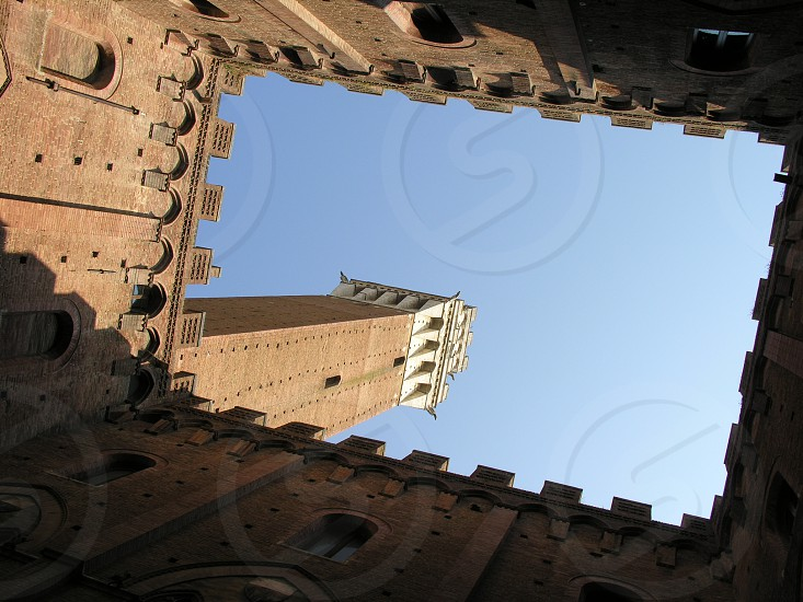 tower castle building rectangle looking upward shadows sunshine blue sky perspective framed ramparts observation tourist destination siena italy inspiration think wish hope enjoy travel photo