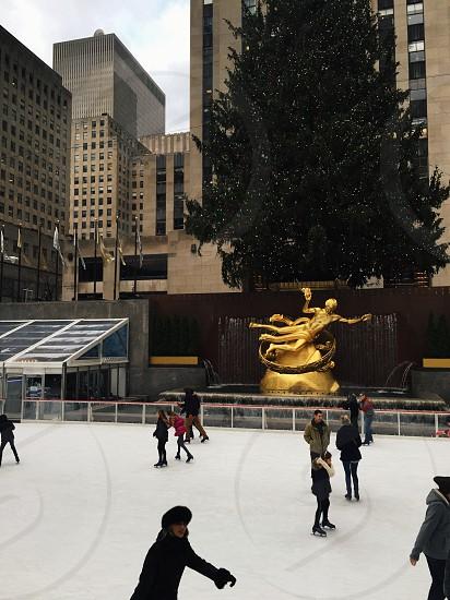 Christmas winter people Rockefeller plaza Rockefeller center photo