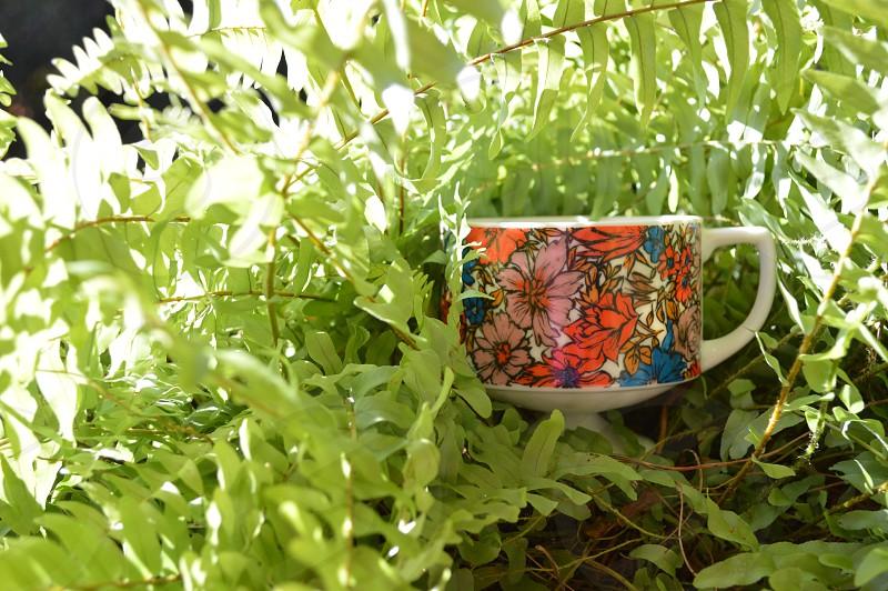 pink orange and blue floral print ceramic mug photo