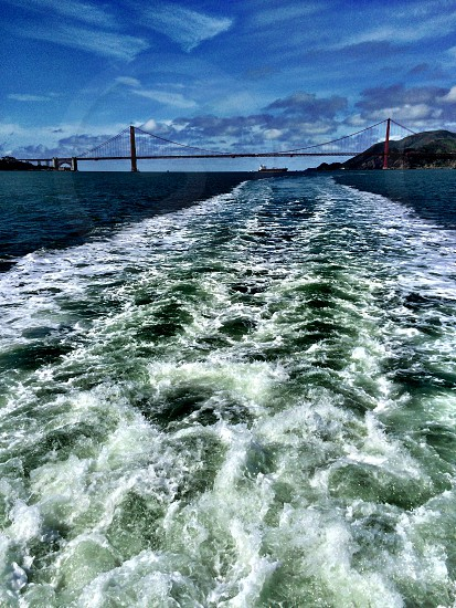 view of the Golden Gate Bridge from the Bay photo