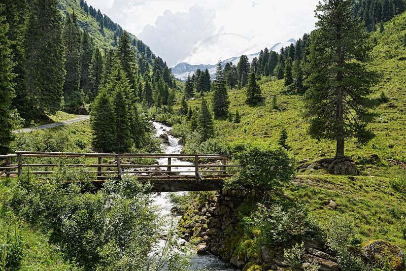 European Alps landscape of Zillertal valley part of Gerlostal Valley. (Tirol Austria). photo