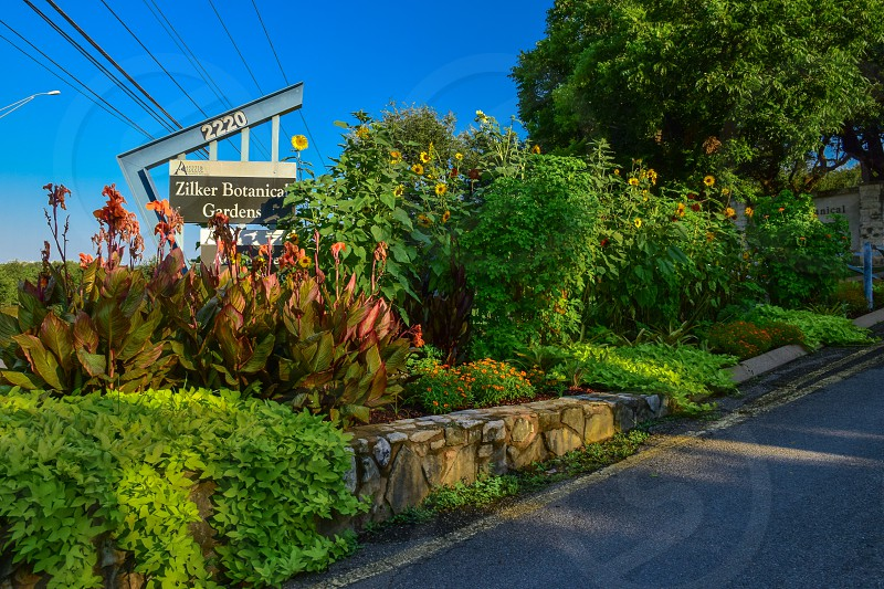 Exterior shot of entrance to Zilker Botanical Gardens in Austin Texas photo