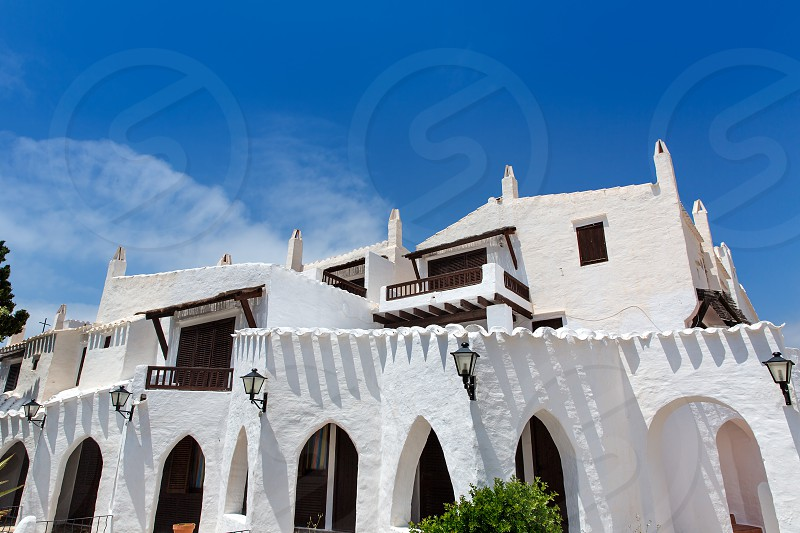 Binibequer Vell in Menorca Binibeca white village Sant Lluis at Balearic Islands photo