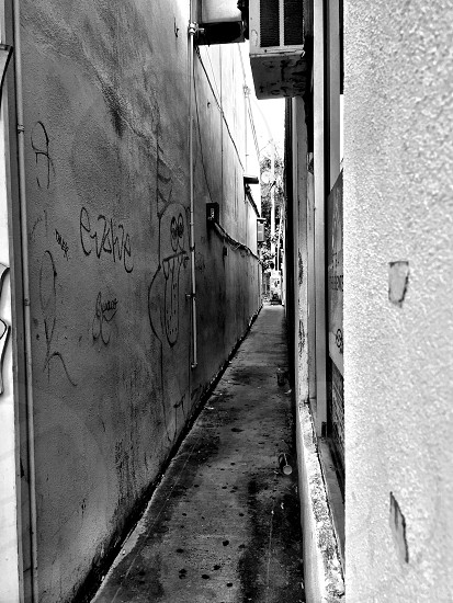 greyscale photo of alley in the middle of concrete building photo