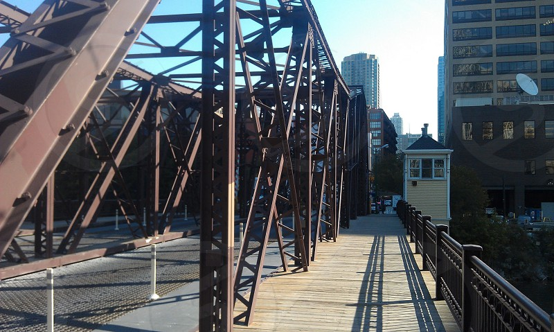 Chicago bridge with pedestrian access. Kinzie street bridge during the day. photo