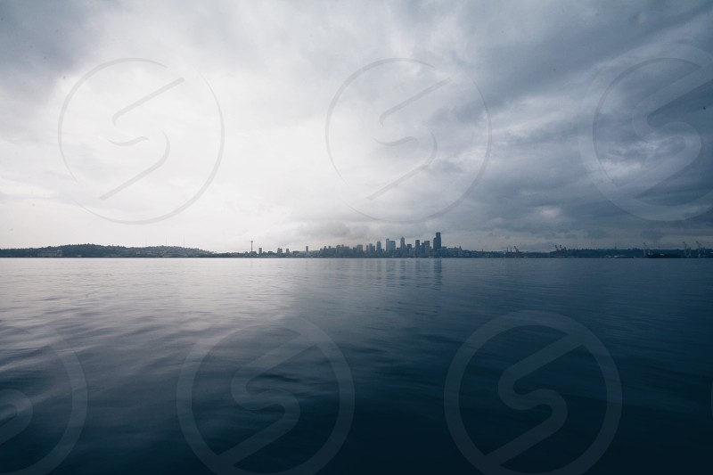 Seattle from a floating dock  photo
