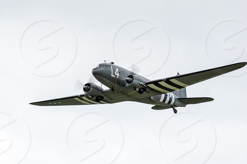 Douglas C-47A Skytrain N147DC flying over Shoreham Airfield photo