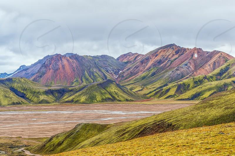 View of colorful mounains Landmannalaugar from the Laugavegur hiking trail. Autumn. Iceland photo