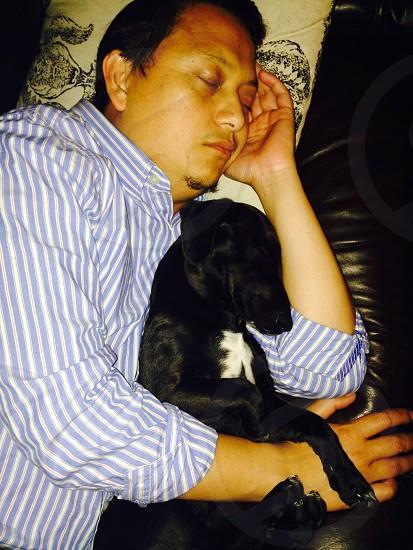 man hugging a labrador photo