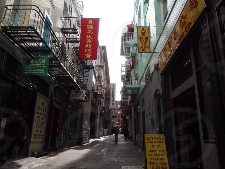 alley with chinese signboards photo