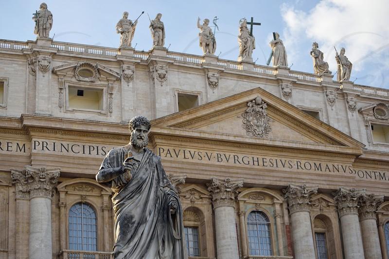 Statue of Saint Peter.  Saint Peter's Square in Vatican City. photo