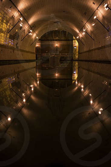 Water pool reflection in the crypt photo