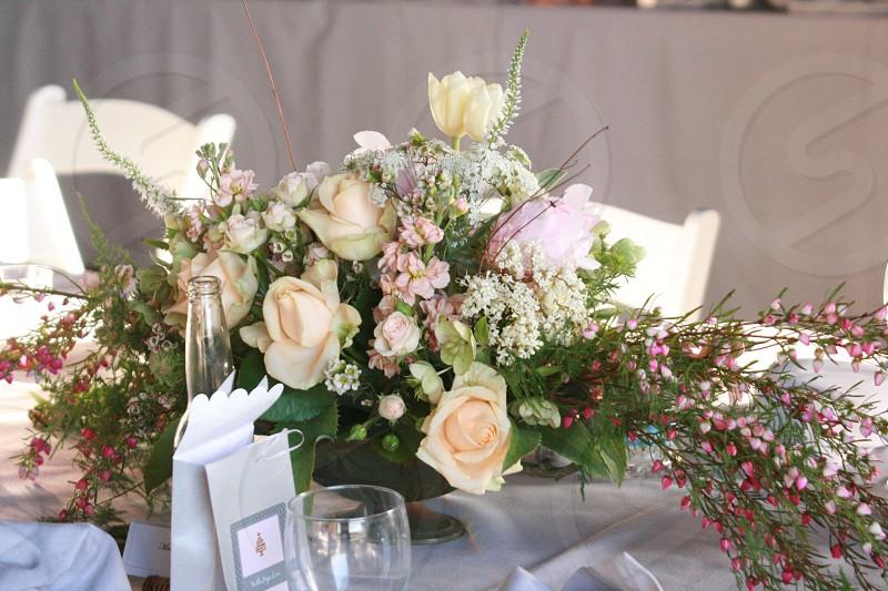 hard and soft flowers wedding wine wine glass favors pink white nostalgic  photo