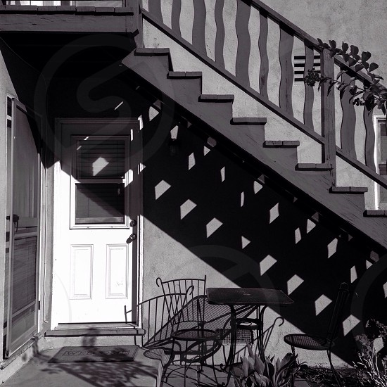 black wooden stairwell photo
