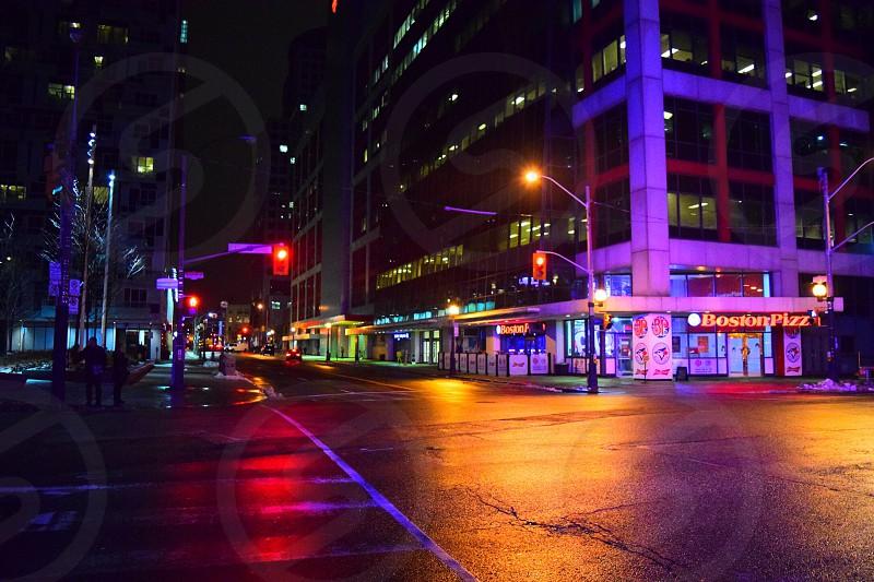 Toronto Ontatio Canada city intersection lights evening photo