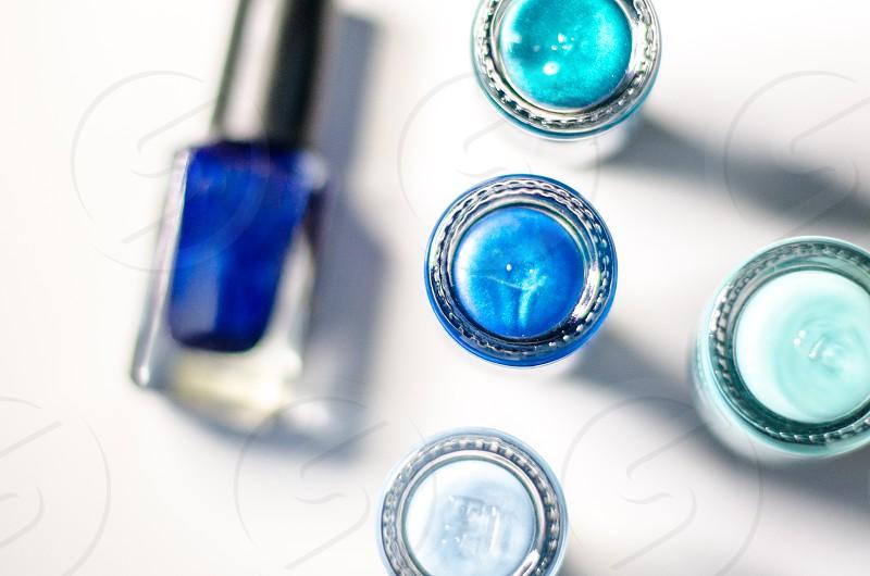 A variety of blues shades of blue nail polish beauty photo