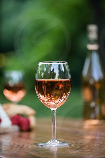 Hero shot of rose wine outdoors photo