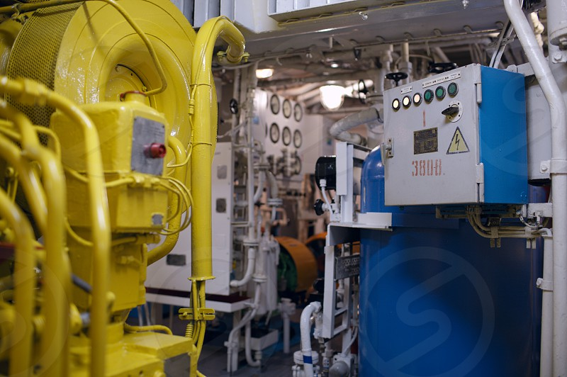 Boat interior with control panel instruments photo