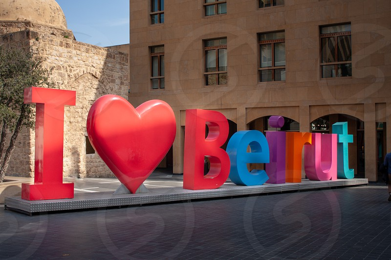 """Big letters forming """"I love Beirut"""" sign in the downtown of Beirut the capital of Lebanon. photo"""