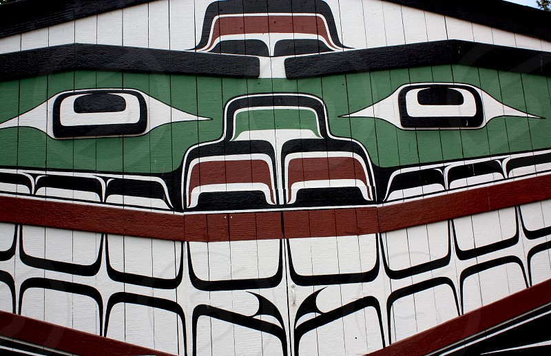 Painted First Nations Longhouse. Location: Victoria BC Canada photo