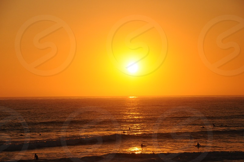 beach sunset surfers water waves California pretty photo