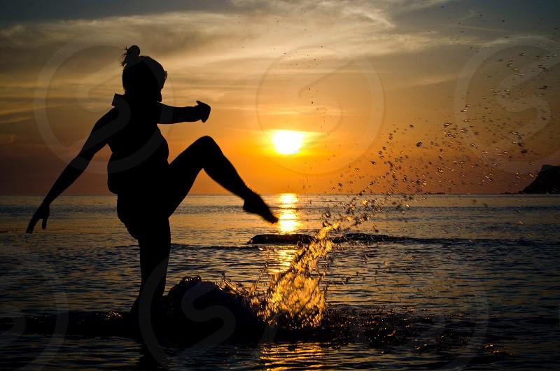 woman king on beach photo