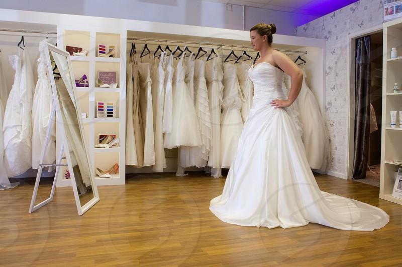 woman wearing wedding dress photo